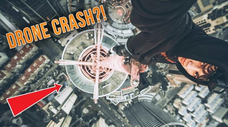 CLIMBING 500FT SKYSCRAPER, DRONE CRASH CLOSE CALL!